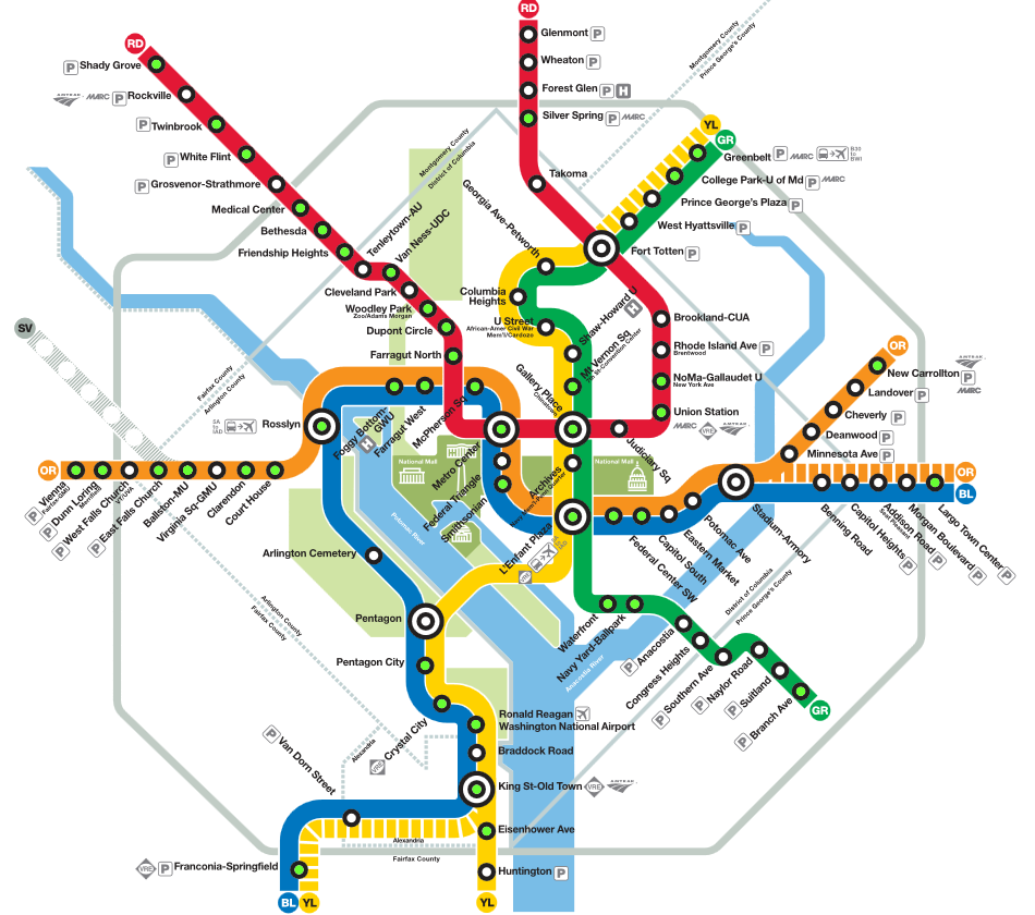 Washington dc Map With Metro Stations Washington-dc-metro-station